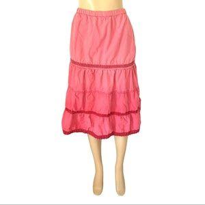 Boho Pink Vintage Styled Flare Midi Skirt